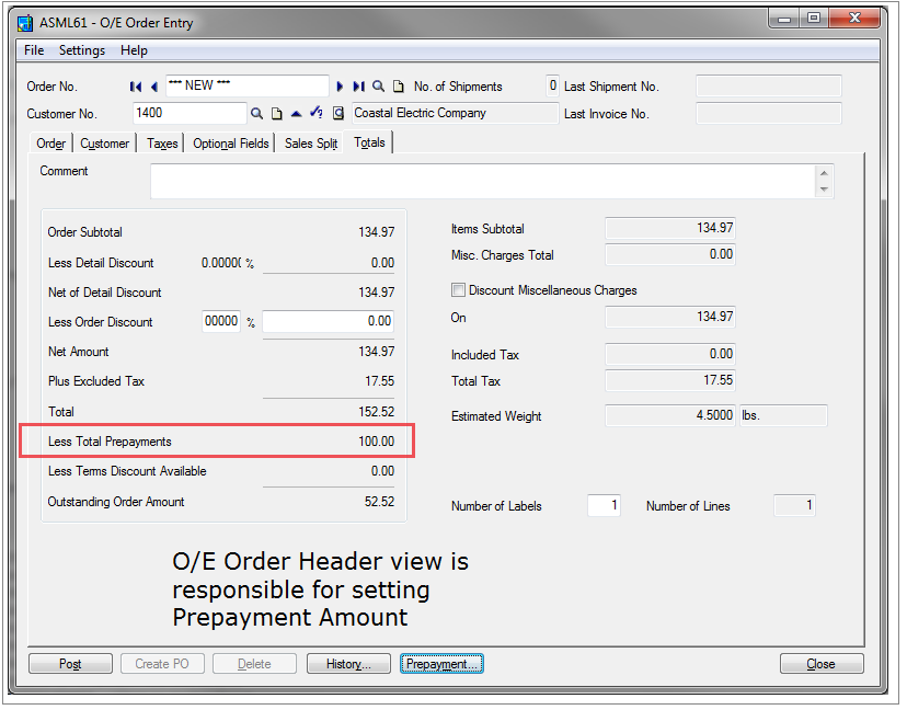 OE Order Header Prepayment